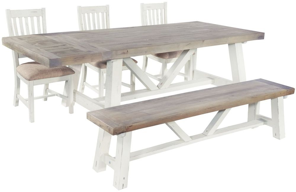 Rowico Driftwood Two Tone Dining Table Extension Leaf : 3 rowico purbeck extending dining set with 3 slatted back chairs and 1 small bench3 from www.lisnasurehome.com size 1000 x 649 jpeg 67kB