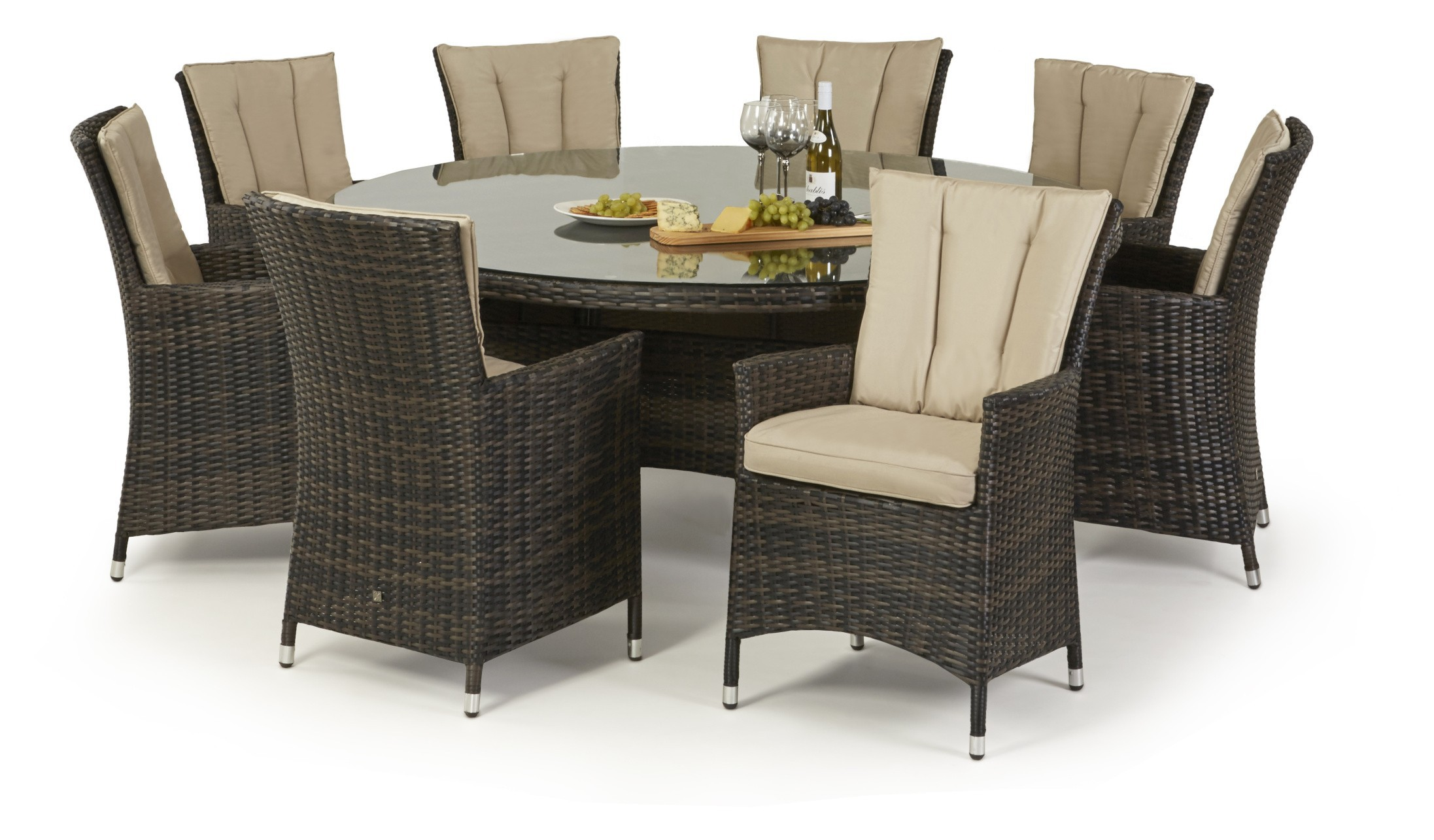 Maze Rattan La 8 Seat Round Dining Set With Or Without Ice