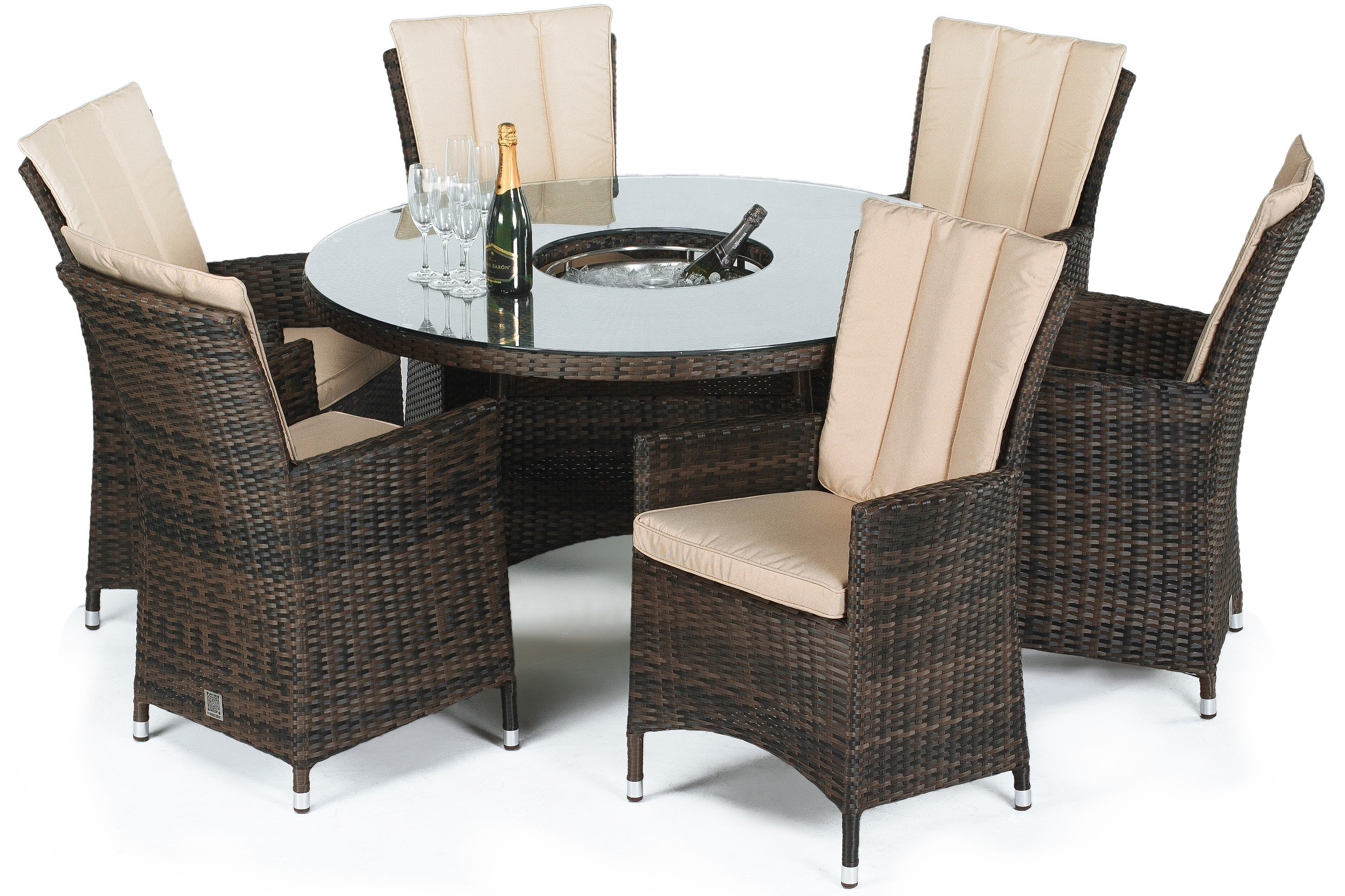 Maze Rattan La 6 Seat Round Dining Set With Or Without Ice