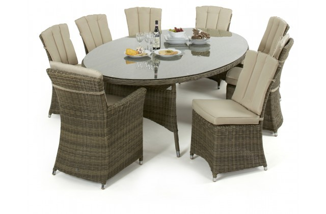 Super Maze Rattan Winchester Oval Table With 2 Carver And 6 Armless Chairs Beutiful Home Inspiration Aditmahrainfo