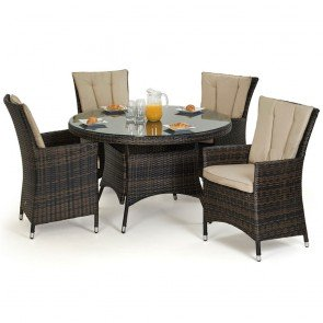 Maze Rattan LA 4 Seat Round Dining Set with or without Ice Bucket