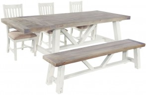 Rowico Driftwood Two Tone Trestle Dining Table