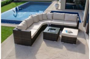 Maze Rattan Barcelona Corner Group With Luxury Insert Ice Bucket Coffee Table