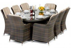 Maze Rattan Venice 8 Seat Oval Dining Set