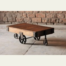 Little Tree Hyatt Upcycled Industrial Coffee Table Cart