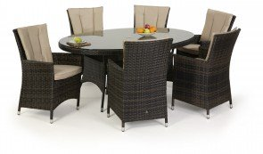 Maze Rattan LA 6 Seat Oval Dining Set with or without Ice Bucket