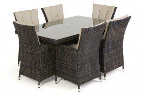 Maze Rattan LA 6 Seat Rectangular Dining Set with or without Ice Bucket