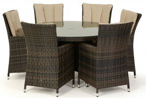 Maze Rattan LA 6 Seat Round Dining Set with or without Ice Bucket