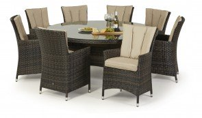 Maze Rattan LA 8 Seat Round Dining Set with or without Ice Bucket