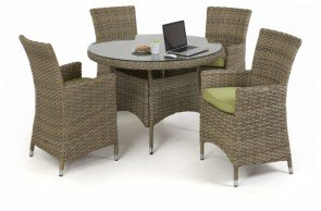 Maze Rattan Milan 4 Seat Dining Set With Dining Chairs