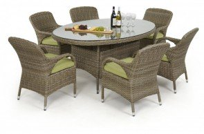Maze Rattan Milan 6 Seat Oval Dining Set With Arm Chairs
