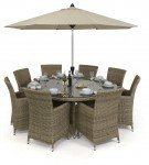 Maze Rattan Milan 8 Seat Dining Set With Dining Chairs