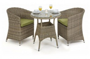 Maze Rattan Milan 2 Seat Bistro Set With Round Chairs