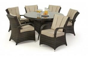 Maze Rattan Texas 6 Seat Round Dining Set