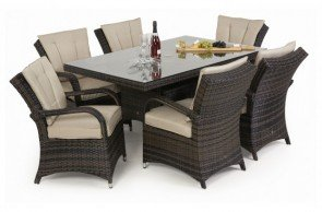 Maze Rattan Texas 6 Seat Rectangular Dining Set