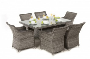 Maze Rattan Victoria 6 Seat Rectangle Dining Set