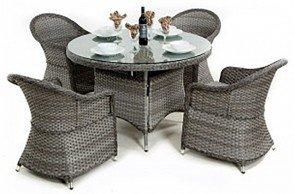 Maze Rattan Victoria 4 Seat Round Dining Set