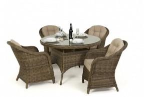Maze Rattan Winchester 4 Seat Round Dining Set Round Chairs