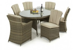 Maze Rattan Winchester Oval Table with 2 Carver and 4 Armless Chairs