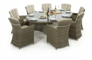 Maze Rattan Winchester Oval Dining Set with 8 Carver Chairs
