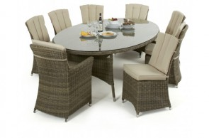 Maze Rattan Winchester Oval Table with 2 Carver and 6 Armless Chairs