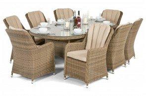 Maze Rattan Winchester Venice 8 Seat Oval Dining Set