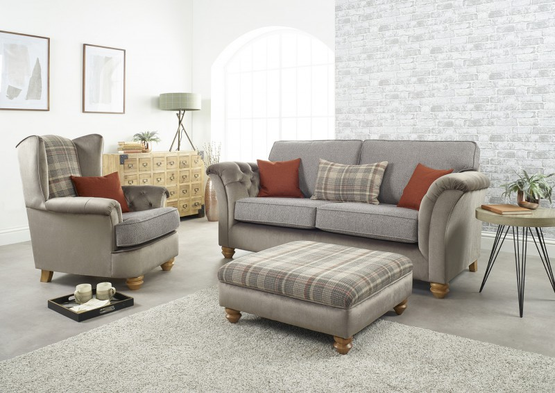 Lebus Ingles 3 Seater, Wing Chair & Footstool