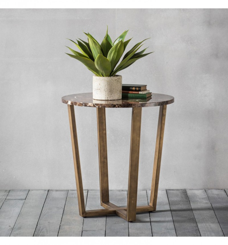 Gallery Emperor Round Side Lamp Table Marble