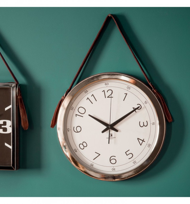 Gallery Yalding Clock with Faux Leather Strap