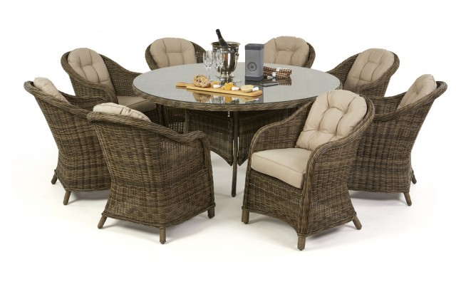 Maze Rattan Winchester 8 Seat Round Dining Set Chairs