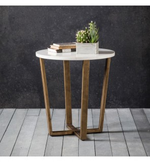 Gallery Cleo Round Side Lamp Table Marble