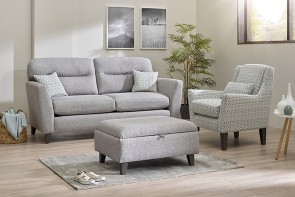 Lebus Clara 3 Seater High Back Sofa, Accent Chair & Footstool