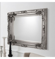 Gallery Carved Louis Leaner Mirror Silver